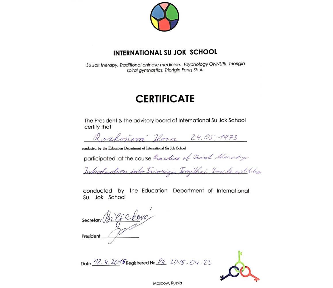 SU JOK 2015 certifikát – Barvy života