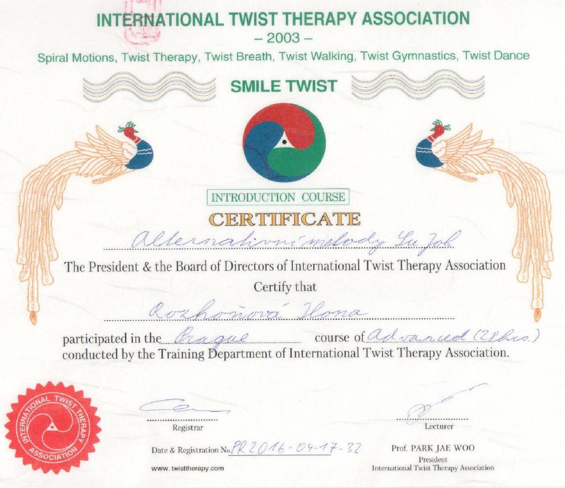 Twist terapie 2003 certifikát – Barvy života