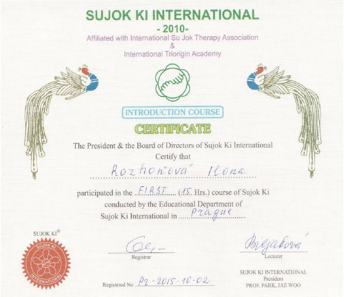 SU JOK 2010 certifikát – Barvy života