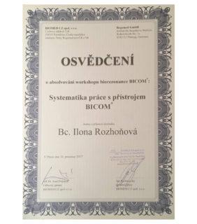 Systematika práce s přístrojem BICOM 2017 certifikát – Barvy života