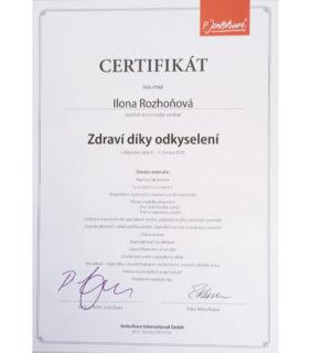 Certifikát P. Jentschura – Zdraví díky odkyselení 2018 – Barvy života